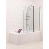 Душевая шторка для ванны SS-148120-14, 120*140 (прозрачное 6 мм стекло, профиль хром, одна неподвижная и одна распашная створки, ручка)