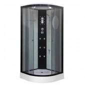Гидромассажная душевая кабина NG-1901-01, 90*90*215 (тонированное стекло, профиль черный, светлые стеклянные задние стенки, одинарные нижние и двойные верхние дверные ролики, пластиковая центральная панель, гидромассаж (6 шт.), крыша, вентиляция, освещени