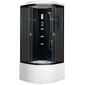 Гидромассажная душевая кабина NG-211-01N, 90*90*215 (тонированное стекло, профиль черный, темные стеклянные задние стенки, одинарные нижние и двойные верхние дверные ролики, пластиковая центральная панель, гидромассаж (3 шт.), крыша, вентиляция, освещение