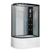 Гидромассажная душевая кабина NG-1910-01 R, 120*80*215 (тонированное стекло, профиль черный, светлые стеклянные задние стенки, одинарные нижние и двойные верхние дверные ролики, пластиковая центральная панель, гидромассаж (6 шт.), крыша, вентиляция, освещ