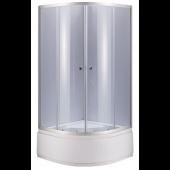 Душевой уголок NG-108022-14, 80*80*195 (тонированное стекло, профиль хром, одинарные дверные ролики, акриловый поддон на цельном металлическом каркасе (высота 45 см, глубина 28 см), сифон с гофрой и гидрозатвором)