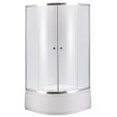 Душевой уголок NG-110012-14, 100*100*195 (прозрачное стекло, профиль хром, одинарные дверные ролики, акриловый поддон на цельном металлическом каркасе (высота 45 см, глубина 28 см), сифон с гофрой и гидрозатвором)