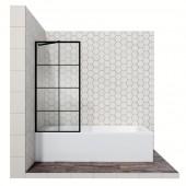 Душевая шторка с неподвижной дверью 16041208, 70*140 см (прозрачное с рисунком 6 мм стекло CrystalPure, покрытие Easy Clean с внутренней стороны стекла, профиль матовый черный)