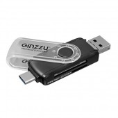 Ginzzu <GR-325B> USB/USB-C/microUSB2.0 SDXC/microSDXC Card Reader/Writer