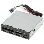 "Ginzzu <GR-137UB> 3.5"" Internal USB CF/SDXC/microSD/MS(/Pro/Duo/M2) Reader/Writer+4portUSB"