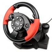 Руль Dialog GW-225VR E-Racer Vibration USB (Рулевое колесо+педали+рычаг перекл. скоростей,13кн., 4 поз.перекл)