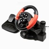 Руль Dialog GW-125VR E-Racer Vibration USB (Рулевое колесо+педали+рычаг перекл. скоростей,13кн., 4 поз.перекл)