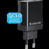 Defender <UPA-101> Зарядное устройство USB (Вх. AC100-240V, Вых. DC5/9/12V, 18W, USB)