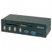 "Akasa <AK-HC-05U3BK> 5.25"" CF/MD/MMC/SDXC/microSD/MS(/Pro/Duo/M2)Card Reader/Writer+2xUSB3.0+4xUSB2.0+1eSATA"